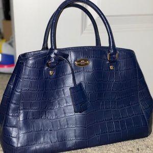Coach Purse - alligator style print in blue